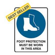 SIGN FOOT PROTECTION MBW 450mm x 600mm POLY 835037