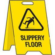 BRADY FLOOR STAND SIGN SLIPPERY FLOOR 839001