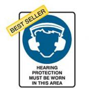 SIGN HEARING PROTECTION MUST BE WORN 225X300 POLY 841018