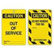 BRADY TAG CAUTION OUT OF SERVICE POLY PACK10 842390