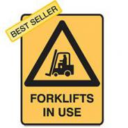 BRADY METAL FORKLIFT IN USE SIGN 600 X 450  832082