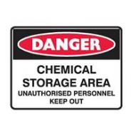 BRADY DANGER CHEM/STORAGE SIGN 450 X300 MTL 832304