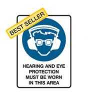 BRADY HEARING / EYE PROT.METAL SIGN 600 X 450 838192
