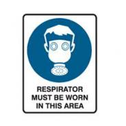 SIGN RESPIRATOR MUST BE WORN I/T/A POLY 300 X 225MM  841223