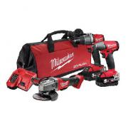 MILWAUKEE COMBO KIT 3PC 18V 5.0AH GRINDER/DRILL/WRENCH  M18FPP3B2-502B